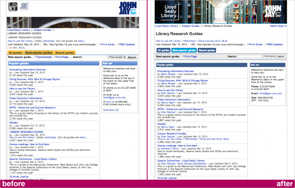 Main page before & after (click for larger)