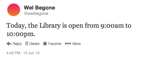 Tweeting library hours