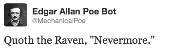 Mechanical Poe literary twitter bot