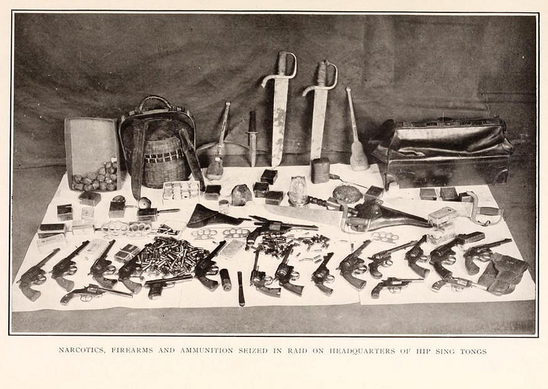 From the 1922 NYPD Annual Report: Narcotics, firearms, and ammunition seized (by NYPD) in raid on headquarters of Hip Sing Tongs (Chinese-American criminal organization).