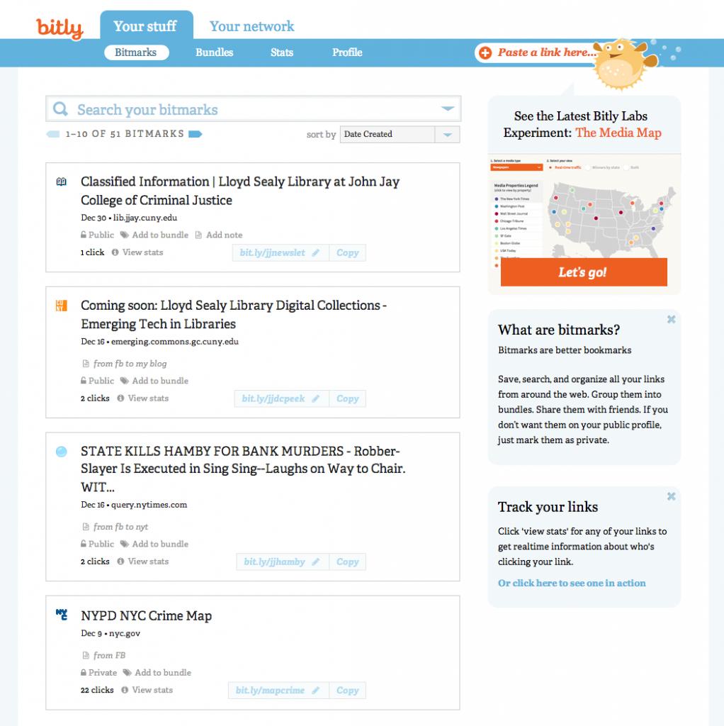 Bit.ly admin page