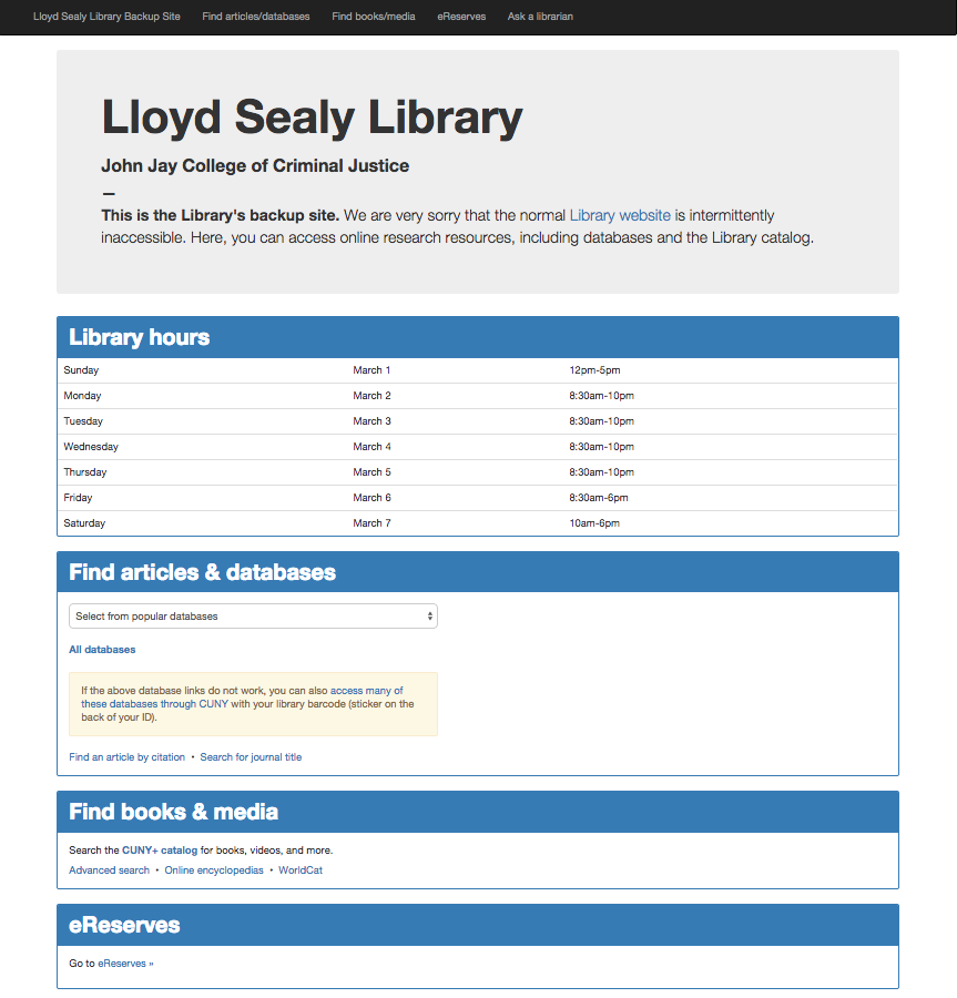 library backup site screenshot