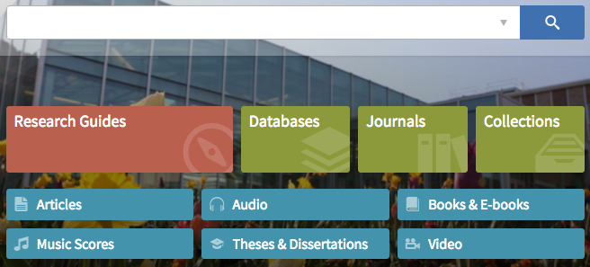 big search box + research guides, databases, journals, articles, etc