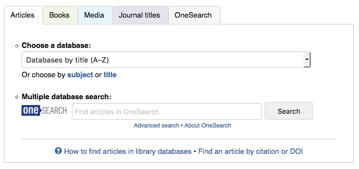 Articles, Books, Media, Journals, OneSearch