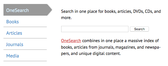 OneSearch, books, articles, journals, media