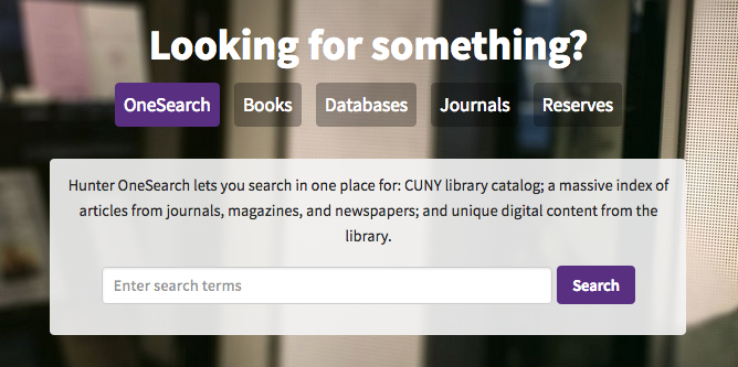 Onesearch, Books, Databases, Journals