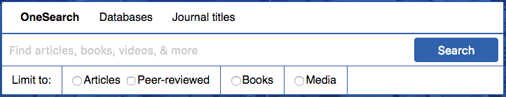 Three main tabs: OneSearch, Databases, Journal Titles