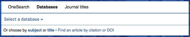 Databases tab: dropdown menu, Choose by title or subject, Find by citation